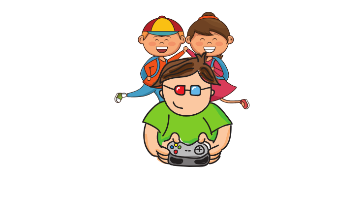 A kid playing video games with friends.