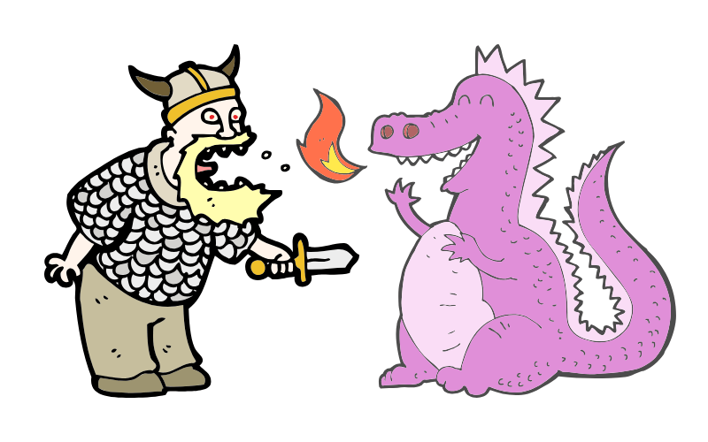 warrior and pink dragon
