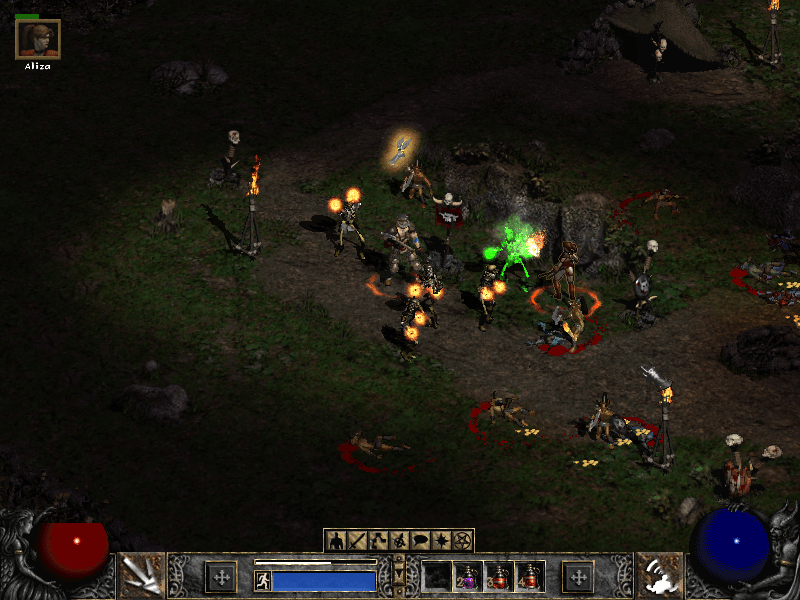 Diablo 2 Skeleton Mage Battle