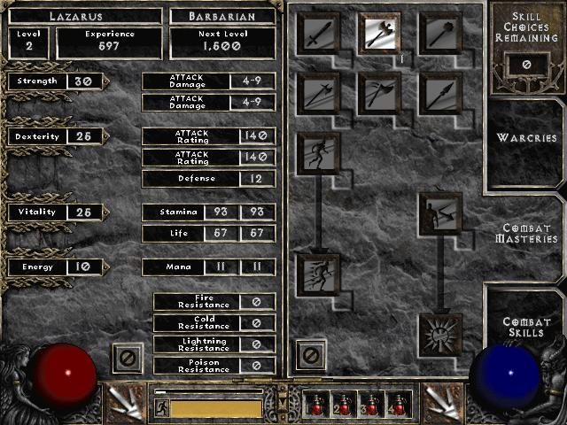 Diablo 2 Stats & Skills Menu