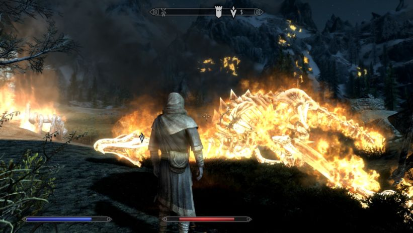 Skyrim Special Edition Gameplay - A burning dragon