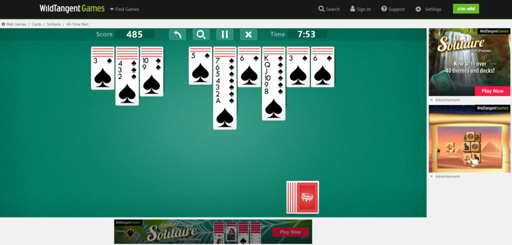 Free online game Spider Solitaire