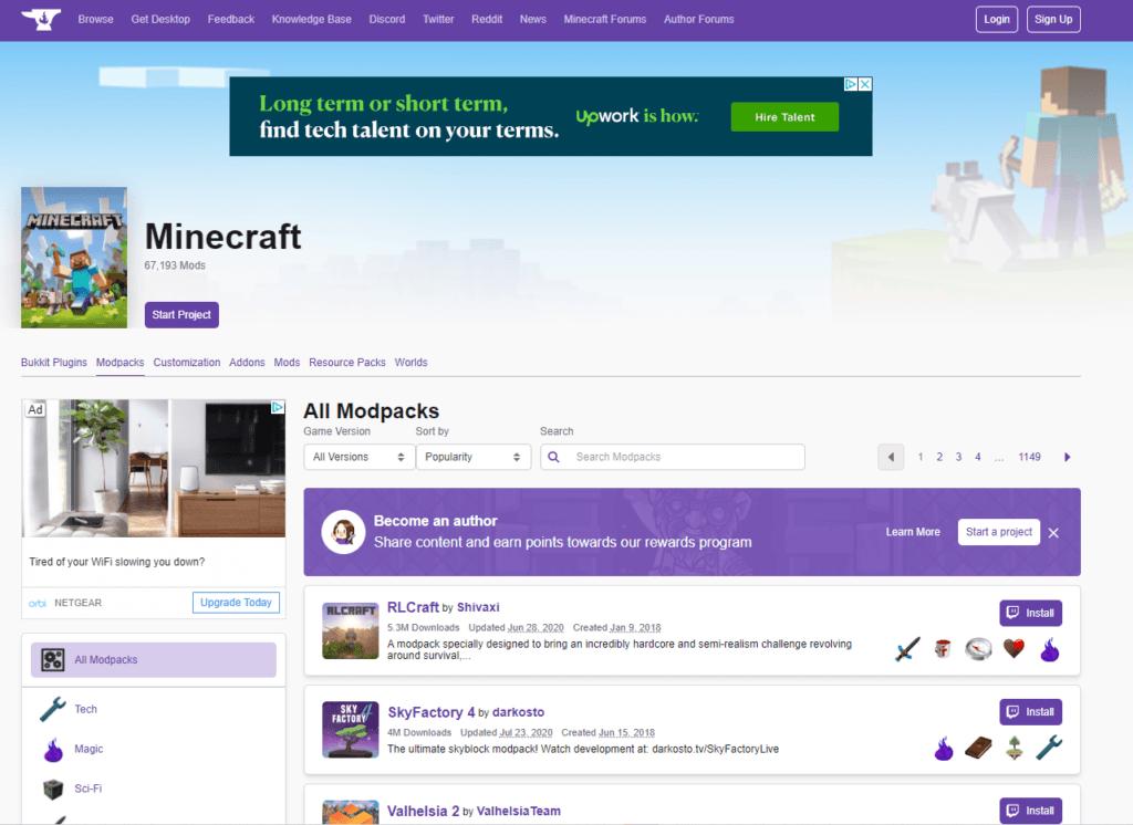 Modpacks - Minecraft - Main Page