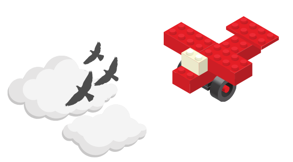 A Lego airplane in the sky.