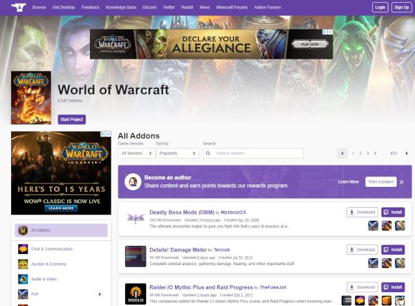 World of Warcraft Modification page.