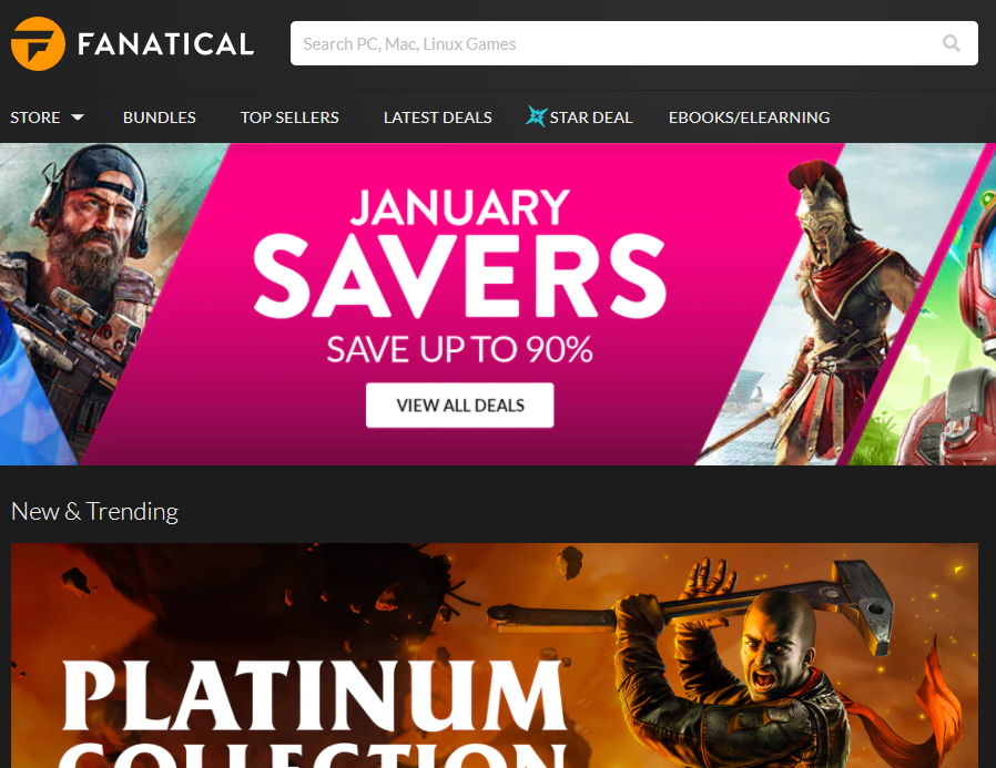 Fanatical Homepage