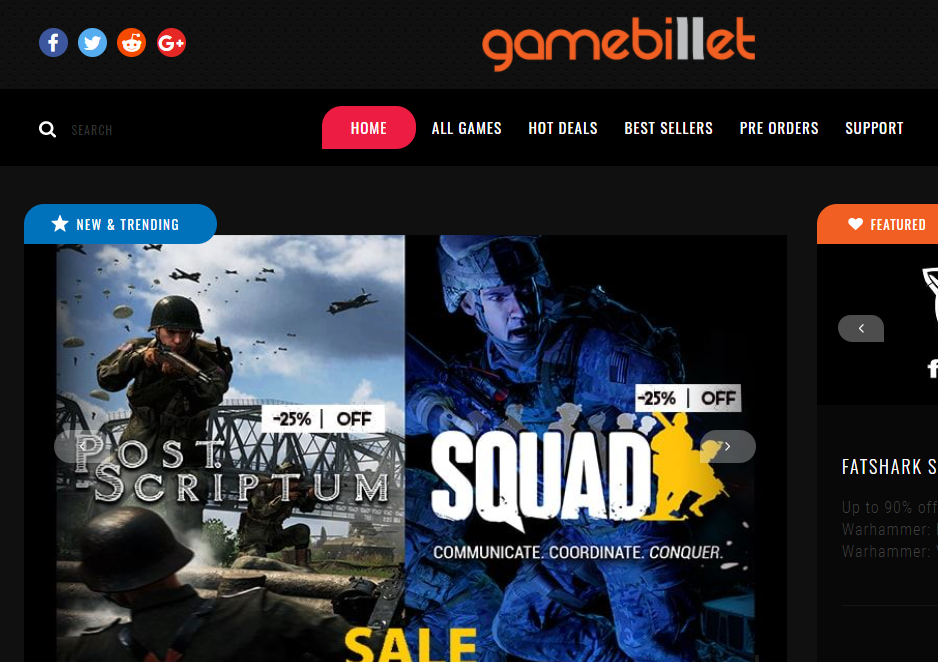GameBillet Homepage