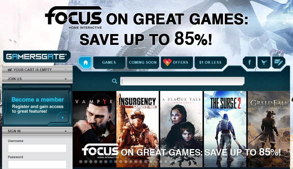 GamersGate Homepage
