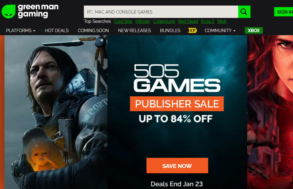 Green Man Gaming Homepage