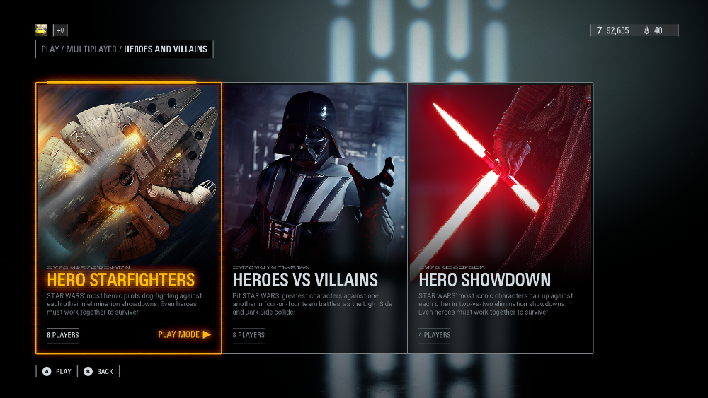 Multiplayer Mode Selection Screen