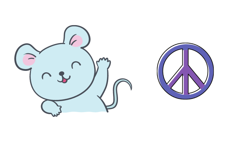 A friendly mouse with a peace sign
