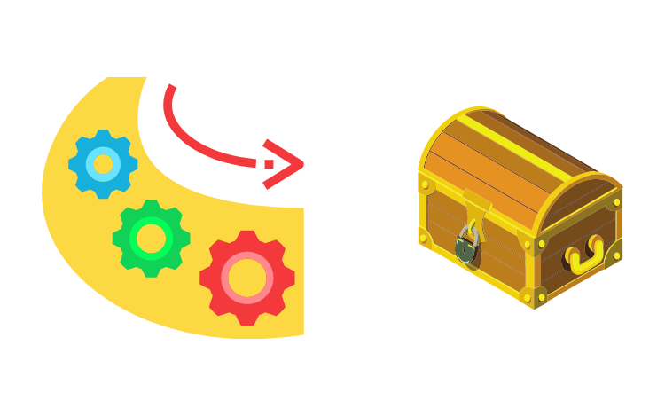 Colorful gears with a chest