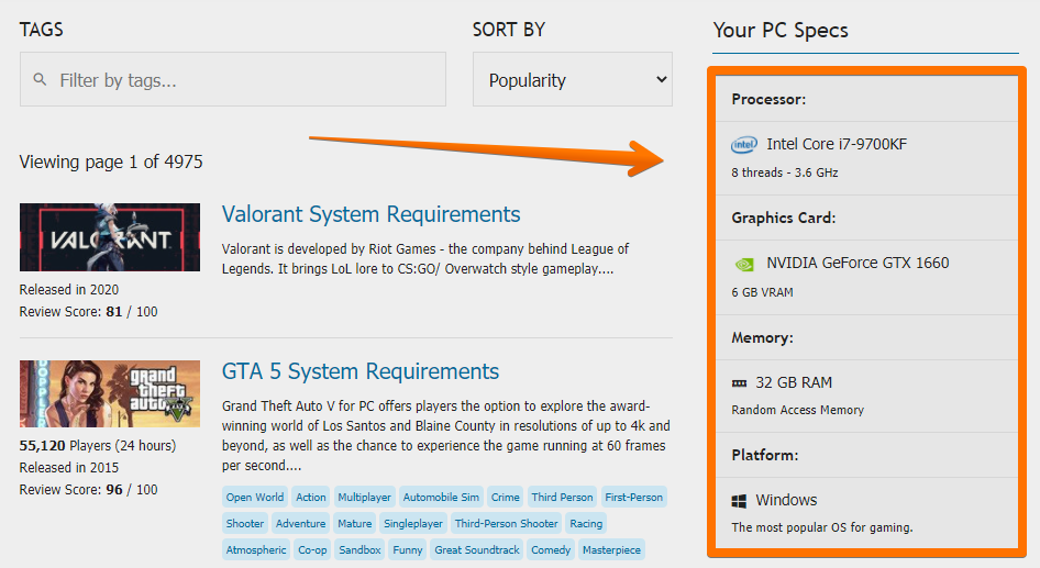 Compatible Games - With Your PC Specs