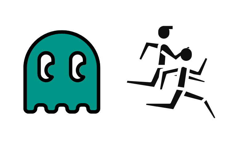 Pac Man Ghost running after people
